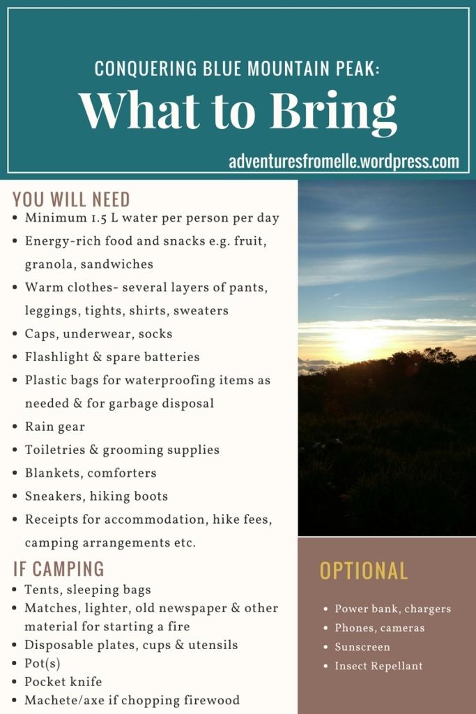 Blue Mountain Peak Checklist