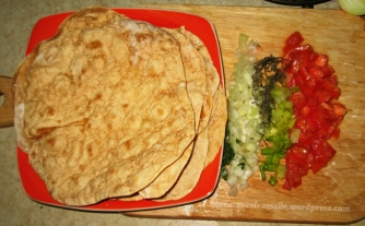 Homemade Tortillas & some ingredients for their fillings (onion, tomato, thyme, parsley, escallion)