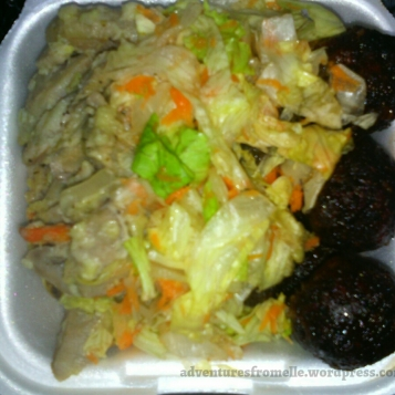 Green banana salad with BBQ veggie balls and tossed salad for $380.00