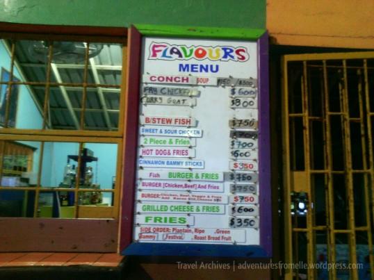 flavours menu