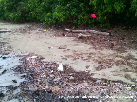 Garbage hidden along the right side of the beach. There's a reason that side was deserted of people.