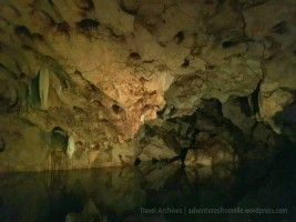 Here's another view of the deep crystal clear water (Green Grotto Caves)