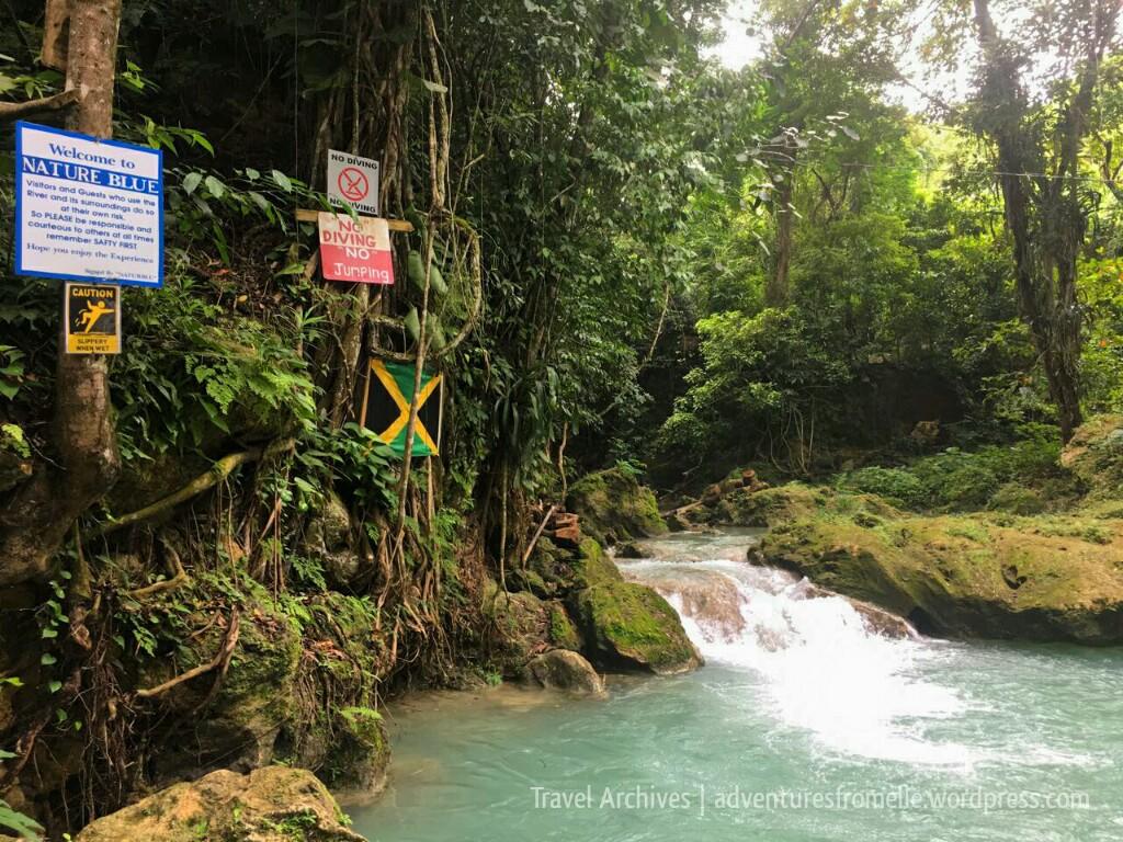 small waterfall-blue hole