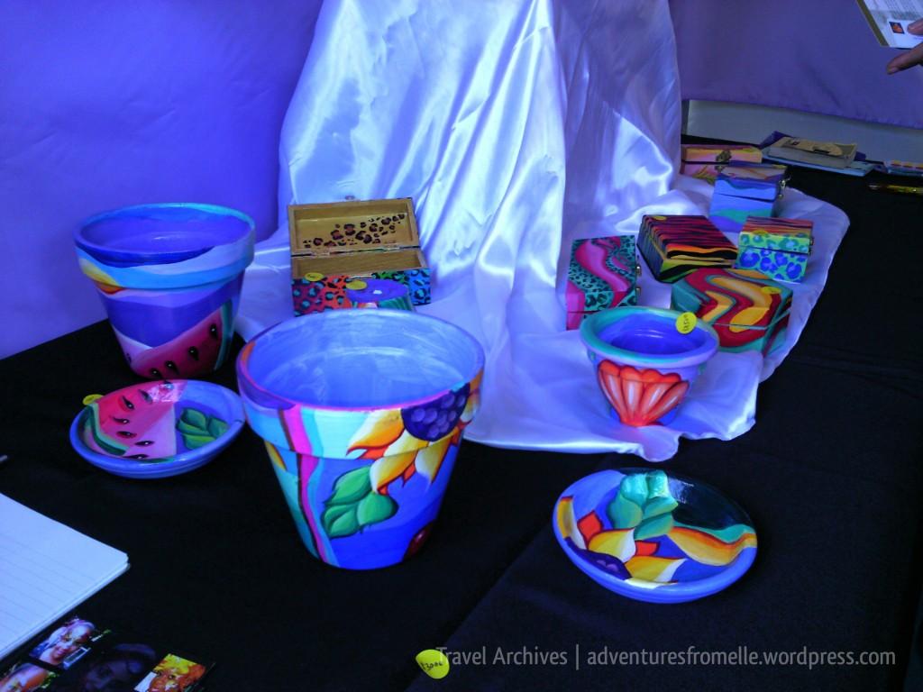 handpainted pots- liguanea art festival 2017