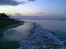 Foaming waves at sunset, Runaway Bay