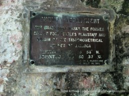 Sign showing the point from which Jamaica's lines of latitude & longitude were calculated