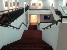 heading downstairs-national gallery of jamaica