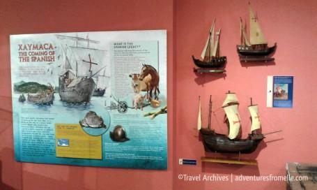 The coming of Colombus & the Spanish with their 3 ships, Santa Maria, Pinta & Niña