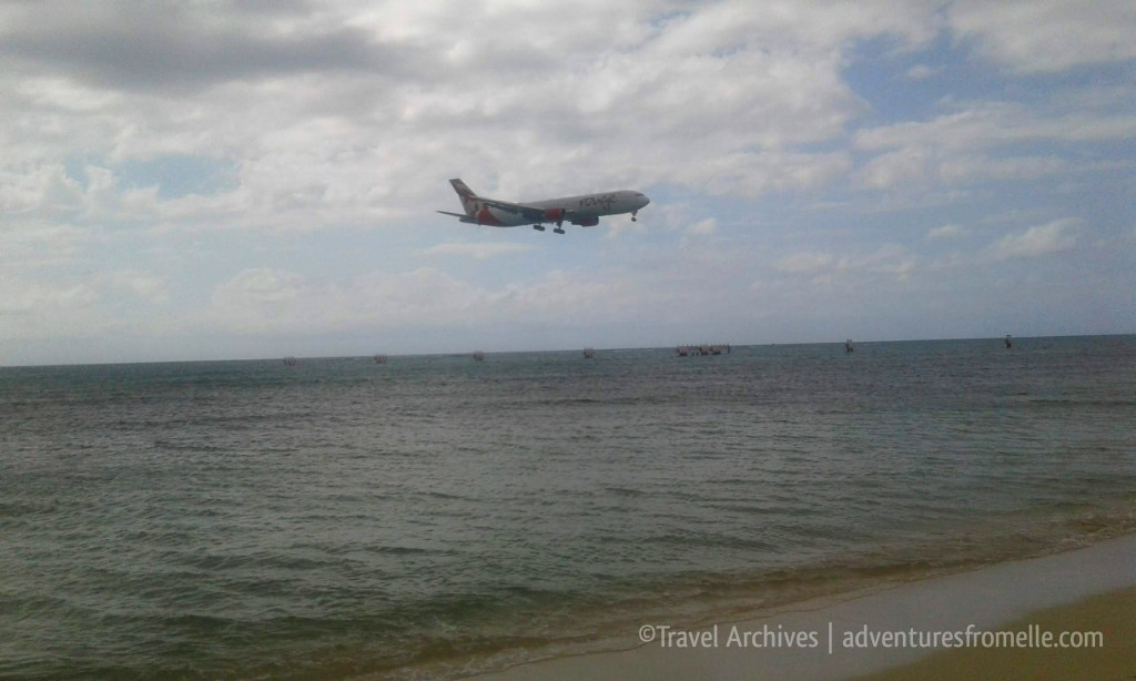 plane overhead at dead end beach