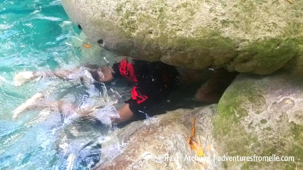 underwater cave-reach falls
