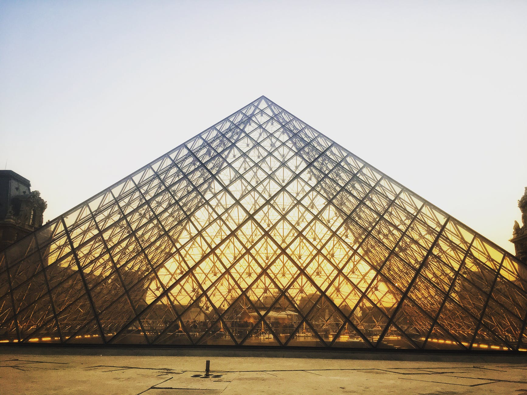 louvre museum during golden hour